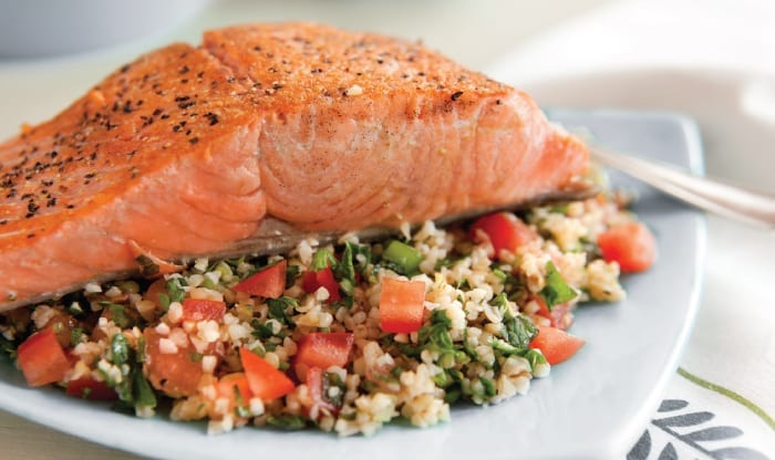 Lemon Mint Tabouli with Pan-Seared Salmon