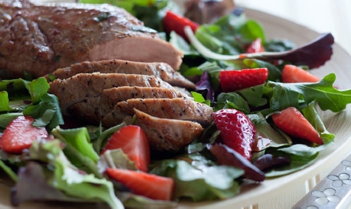 Seared Pork Tenderloin with Strawberry Salad