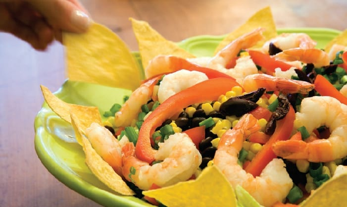Shrimp Tex-Mex Salad with Easy Baked Tortilla Chips and Dressing