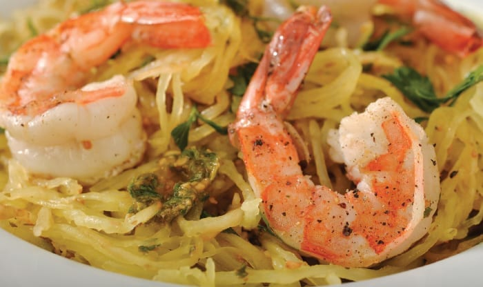Spaghetti Squash with No-Nut Pesto and Shrimp